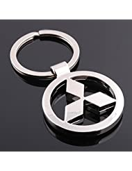 Chronowares Mitsubishi Chrome Plated Steel Imported Key Chain Key Ring Car Logo For Pajero Sport Lancer Outlander...
