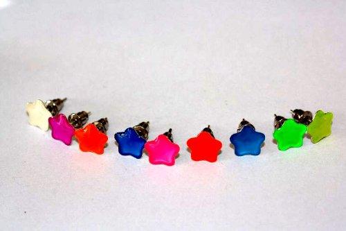 1 paar Emeco ® Klassic Neon Farbe Ohrstecker Ohrringe DH-003 (BLAU PETROL, BLUMEN/8MM)