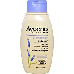 Aveeno Active Naturals Stress Relief Body Wash with Lavender, Chamomile & Ylang-Ylang, 12 Ounce