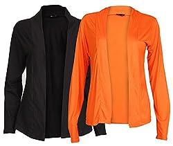 Ten on Ten Womens Pair of Orange/ Black Long Shrug