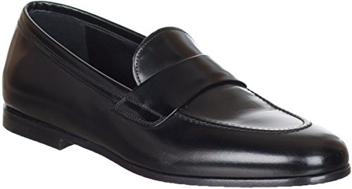 Salvatore Ferragamo Men`s Black Leather Penny Mocassin Loafers Shoes, Black, 7.5