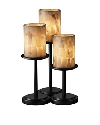 Justice Design Group Alabaster Rocks!™ Dakota Table Lamp, Matte Black/Alabaster