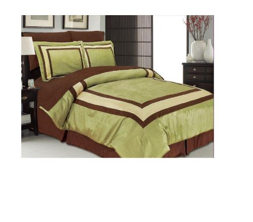 manhattan heights athens faux dupioni bed in a bag 8 piece set queen green bed in a bag full. Black Bedroom Furniture Sets. Home Design Ideas