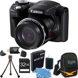 Canon PowerShot SX500 IS 16.0 MP Digital Camera with 30x Wide-Angle Optical Image Stabilized Zoom and 3.0-Inch LCD (Black) Super Bundle W/ 32 GB Secure Digital High-Capacity (SDHC) Mem. Card, Hi-Speed SD USB 2.0 Card Reader, Dig Pro Case