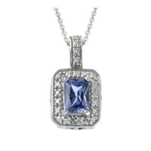Sterling Silver Diamond Accent & Lavender CZ Rectangle Pendant