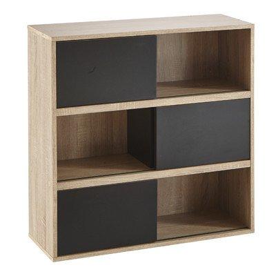 Demeyere 211514 Slide Regal mit 3 schwarzen Schiebetüren aus Spanplatten dekoriert, Breite 78,5 x 78,5 x 30 cm, Korpus in eiche