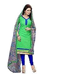 Subhash Sarees Daily Wear Green Color Chanderi Salwar Suit Dress Material