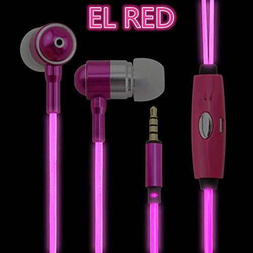 DTECH LED Earphones EL LED HEADSET Light Flashed with Music Rhythm Earbuds in Ear Headphones samsung galaxy s edge Headset Earbud (Pink)