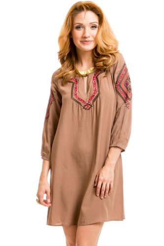 Multicolored Native Stitch Peasant Dress in Coffee