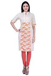 Rene Women's Yellow Three Quarter Sleeves with High Neck Cotton Long Kurti