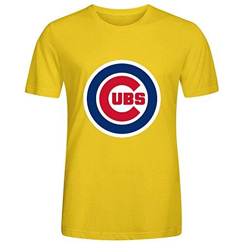 mlb-chicago-cubs-team-logo-crew-neck-men-designer-t-shirts-yellow