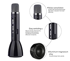 Karaoke Microphone Wireless Speaker Bluetooth for Music Playing Singing and Recording Handheld Cellphone Mic from BLUBOON