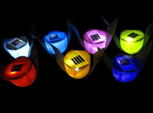 ★チューリップ型 ソーラー ガーデン LED センサー ライト★ 太陽が電池です! 4本セットcosmic solar-6