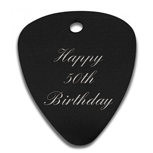 Gitarre-Plektrum-mit-Aufschrift-Happy-50th-Birthday-personalisierbar-mit-bis-zu-30-Buchstaben-ideales-Geschenk–C8BLK