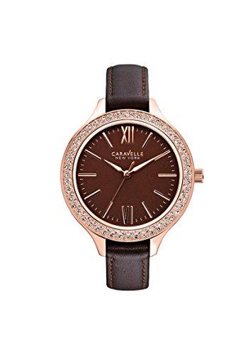 Caravelle New York 44L124 - Reloj analógico de cuarzo para mujeres, correa de cuero, color marrón