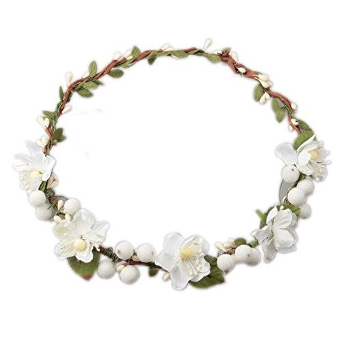 Love Sweety Flower Berries Crown Headband for Wedding Festivals HH7 (White)