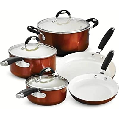 "Tramontina Style 8-Piece Cookware Set, Metallic Copper includes 8"" fry pan, 10"" fry pan, 1.5-qt sauce pan with lid, 3-qt sauce pan with lid, 5-qt Dutch oven with lid"