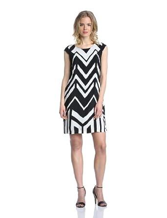 MEXX Damen Kleid, N1Asd012 14Aw131 Lwt Ss Aop Lclstrpe Vi Gestreift, GR. 34 (34), Schwarz (001)