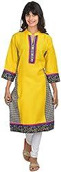 Goodyygoods Women's Cotton Regular Fit Kurti (GG 53, Yellow , Large)