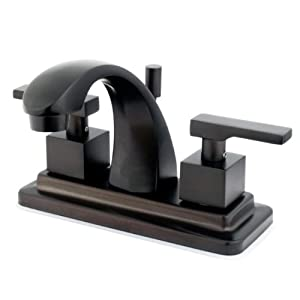 Kingston Brass KS4645QLL+ Executive 4-Inch Twin Lever Handle Centerset Lavatory Faucet, Oil Rubbed Bronze