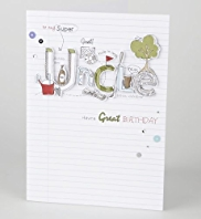 Text Lined Paper Uncle Birthday Card