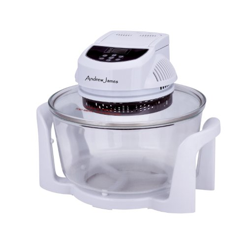 Andrew James 12 LTR White Premium Digital Halogen Oven Cooker + Easily Replaceable Spare Bulb + 2 YEAR WARRANTY + 128 Page Recipe Book - Complete With Extender Ring (Up to 17 Litres) Lid Holder, Baking Tray, Steamer Tray, Skewers, Low and High Racks