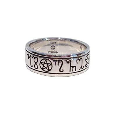 pagan wedding rings sterling silver pentacle band runic