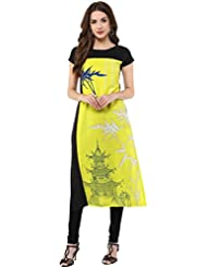 Janasya Women's Yellow Digital Printed Crepe Kurti - B01M0B1YB2