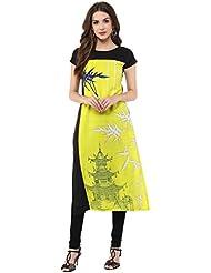 Janasya Women's Yellow Digital Printed Crepe Kurti - B01M0B1YB2