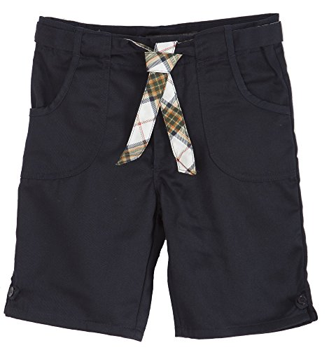 (CK36LG) Eddie Bauer School Uniforms Little Girls Belted Bermuda Length Short (Sizes 4-6x) in Navy Size: 6x