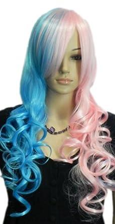 Amazon Com Qiyun Z Lolita Half Pink Blue Mix Long Wavy