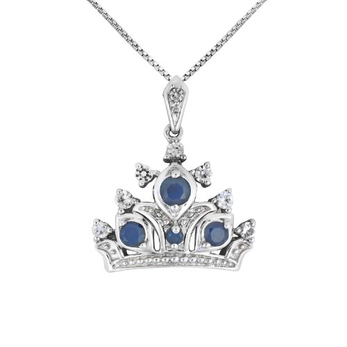 Sterling Silver Round Shaped Created Sapphire and Created White Sapphire Crown Pendant Necklace , 18