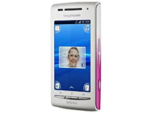 Sony Ericsson Xperia X8 Smartphone (7,6 cm (3 Zoll) Touchscreen, 3.2 MP Kamera, Android 2.1 OS, aGPS, WiFi, 3.5mm Klinkenstecker) weiß/pink, inkl. Zusatzcover in weiß