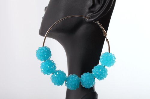 Neon Blue Shamballah 2.25 Inch Hoop Earrings with 7 Disco Balls Basketball Mob Wives Lady Gaga Poparazzi