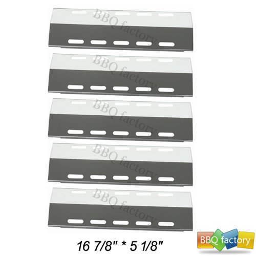 """BBQ factory 30500701/30500097 (5-pack) Stainless Steel Heat Plate 16 7/8"""" * 5 1/8"""" Replacement for Select Ducane 5 Burner Gas Grill Models"""