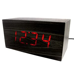 Red LED Wood Wooden Block Desk Alarm Clock Thermometer Date