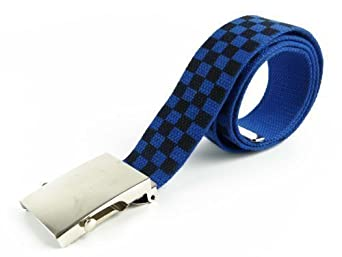 Webbing Chequered CANVAS BELT Unisex Mens Boys Goth Punks Skaters Teens Stylish (Large, Blue)