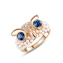 buy Roxi High-End Rose Gold Austrian Crystal Owl Shape Pearl Ring (6)