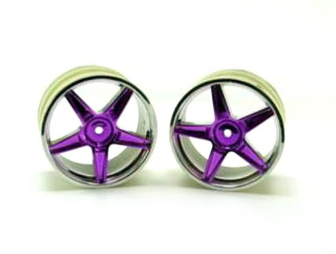 Redcat Racing Chrome Rear 5 Spoke Purple Anodized Wheels (2 Piece)