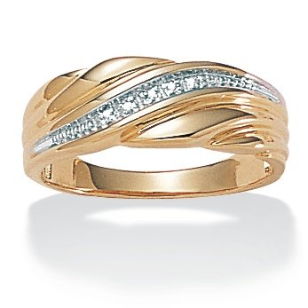 Palm Beach Jewelry - Men's Diamond Accent Wedding Band 18k Gold Over Sterling Silver