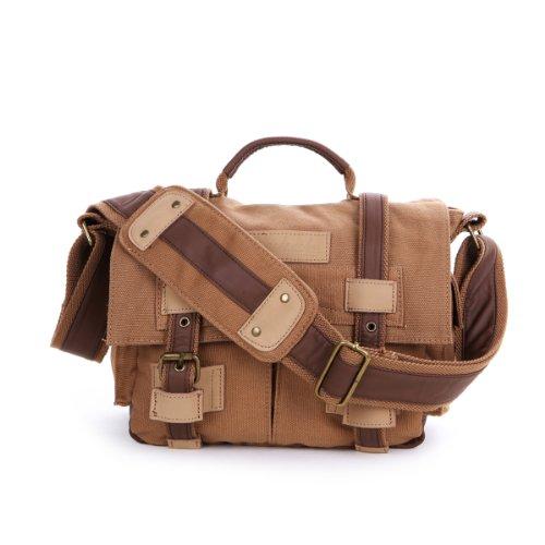 THG Waterproof Brown High Density Pure Canvas Vintage SLR DSLR Camera Messenger Shoulder Case Bag Handbag For f. Nikon Sony Canon Pentax Olympus
