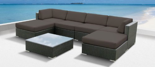 Luxxella Outdoor Patio Wicker MALLINA Sofa Sectional Furniture 7pc All Weather Couch Set DARK GREY