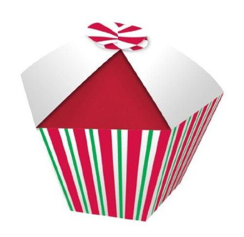 Creative Converting Presentation Station Individual Cupcake or Candy Favor Boxes, Peppermint Swirl, 4 Boxes Per Package