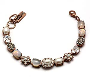 Amaro Jewelry Studio 24K Rose Gold Plated Bracelet from 'Pearl Gem' Collection, Beautifully Designed with White Crescent Moonstone, Faux Pearls, White Opal, Flower Elements and Swarovski Crystals