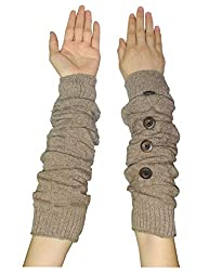 Womens Warm Winter Long Ribbed Knit Thermal Arm Warmers with Buttons one size Light Brown
