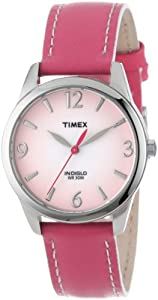 Timex Women's T2N8649J Pink Leather Strap Contrast Stitching Watch