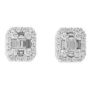 14k White Gold Diamond Earrings - JewelryWeb