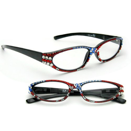 Lz New York Swarovski Crystallized Us Flag Design Women'S Fashion Reading Glasses Black +250