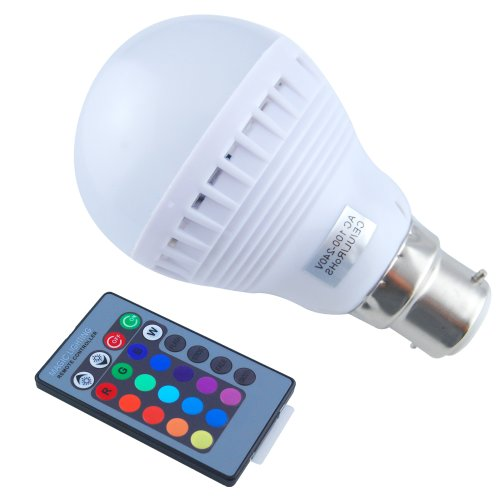 Colourful Led Rgb Colour Changing 3W B22 Light Bulb For Hotel Bar Stage Casinos Restaurants Home Theater With 24Keys Ir Remote Control