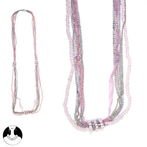 SG Paris Women Necklace Long Necklace 100 cm 7 Rows Old Pink Glass